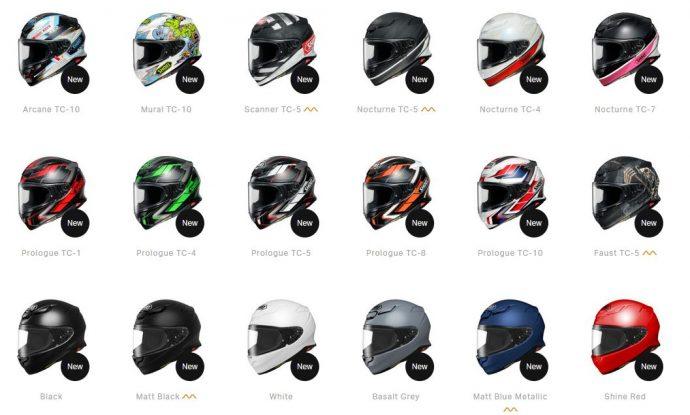 18 coloris disponibles pour le casque Shoei NXR 2