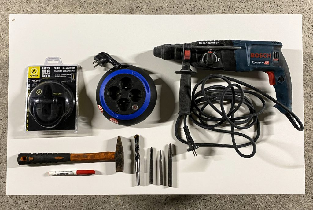 matériel nécessaire pour installer le point fixe de sécurité Auvray